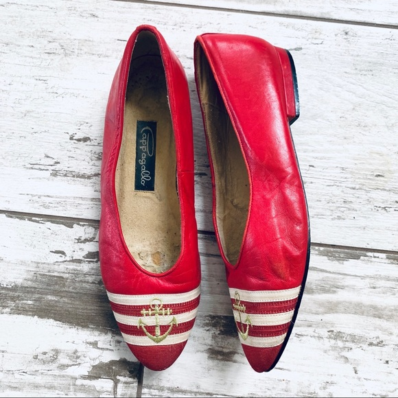 ba8b97e7a81 PAPAGALLO vintage red nautical leather flats 8